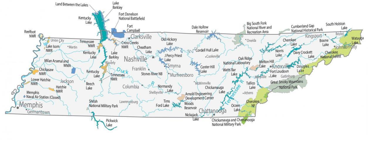fort loudoun lake map Tennessee State Map Places And Landmarks Gis Geography fort loudoun lake map