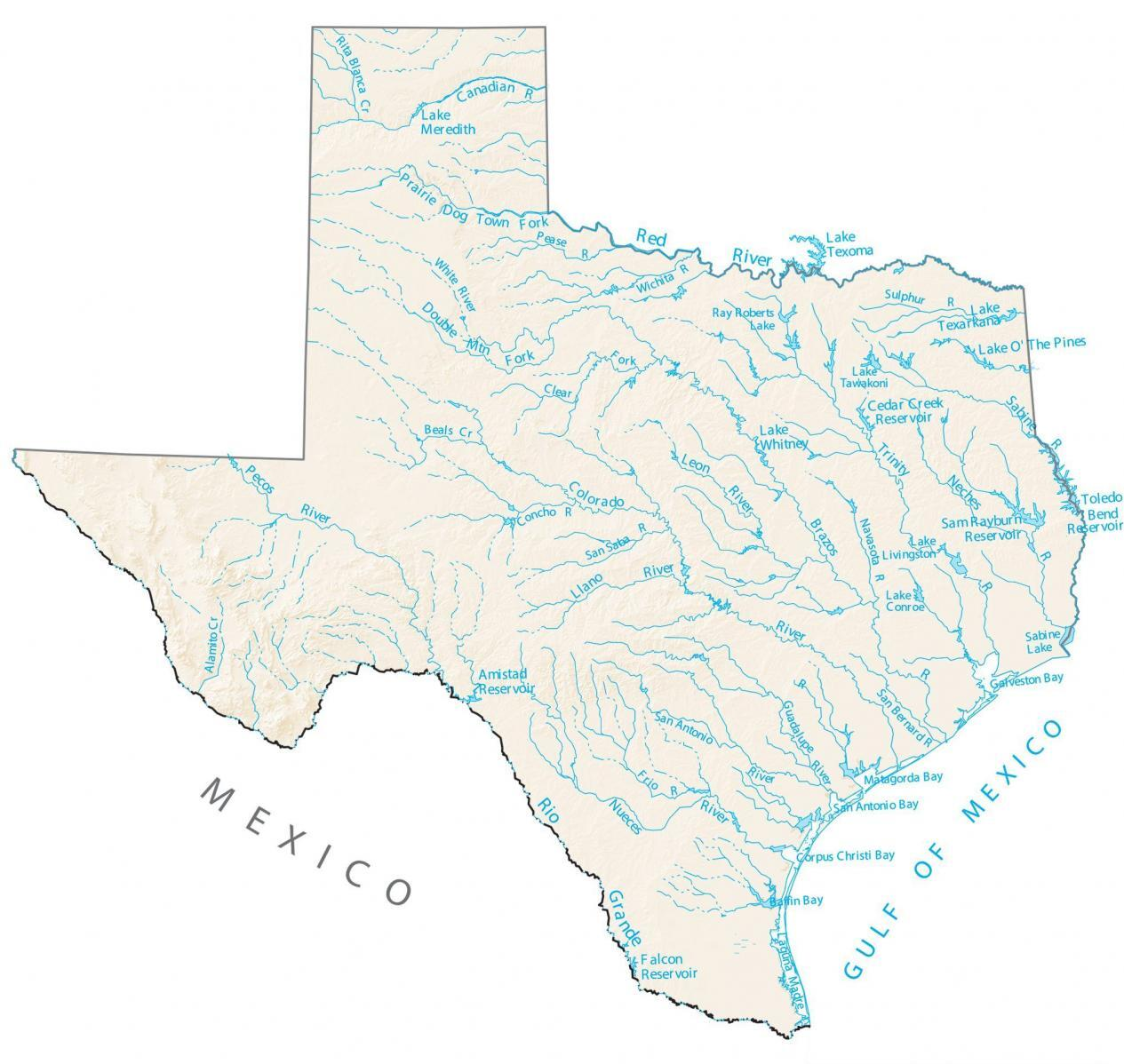 Texas Lakes Rivers Map