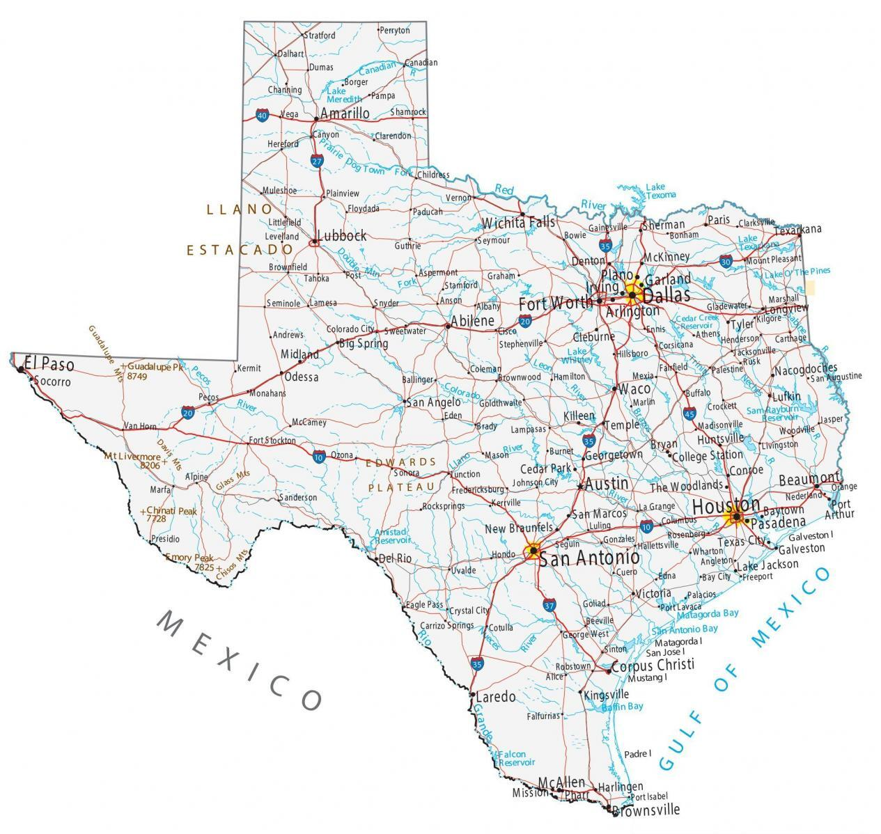 Map Of Texas Cities Map of Texas   Cities and Roads   GIS Geography
