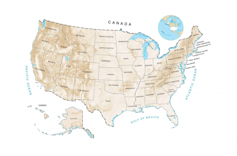 US Elevation Map and Hillshade