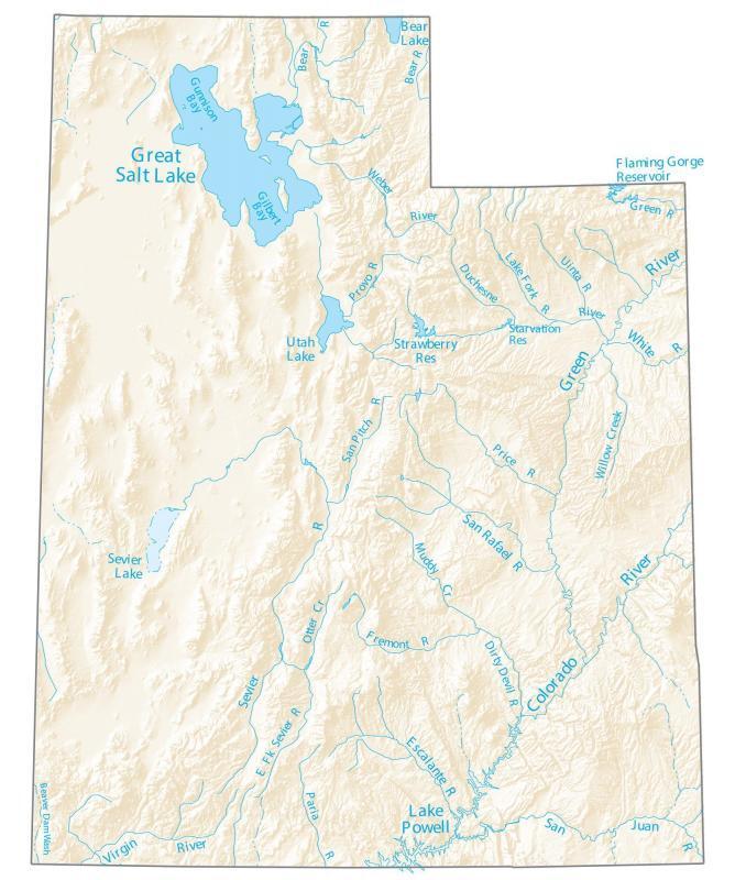 Utah Lakes and Rivers Map