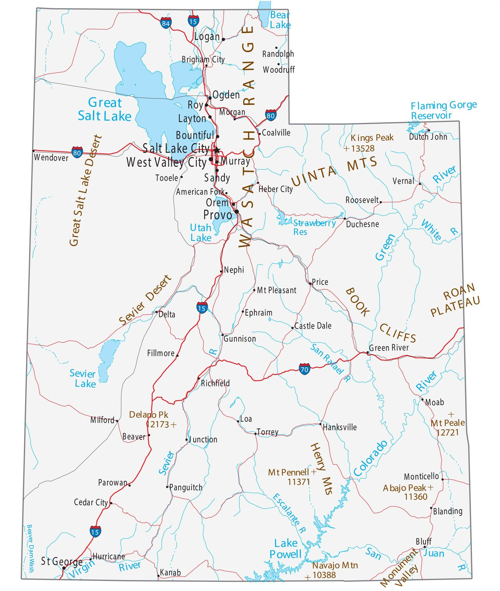 Map Of Utah Cities And Roads Gis Geography