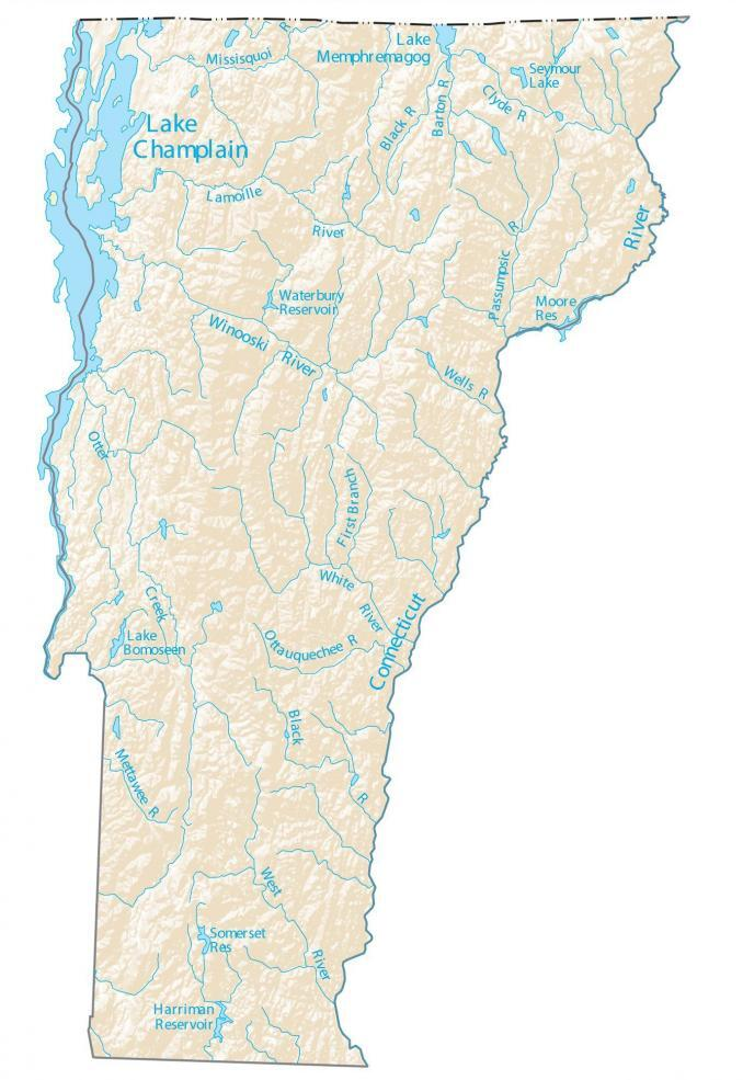 Vermont Lakes Rivers Map