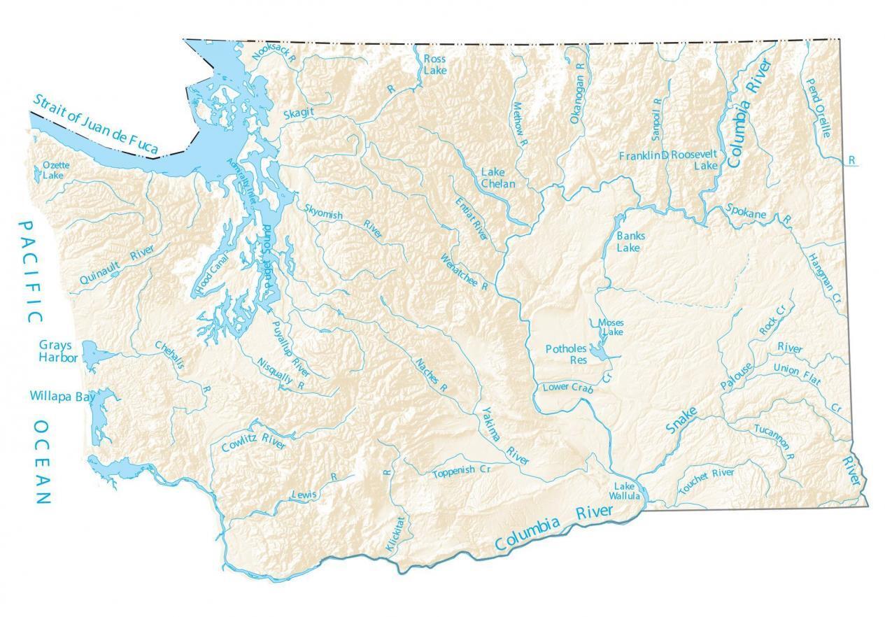 Washington Lakes and Rivers Map