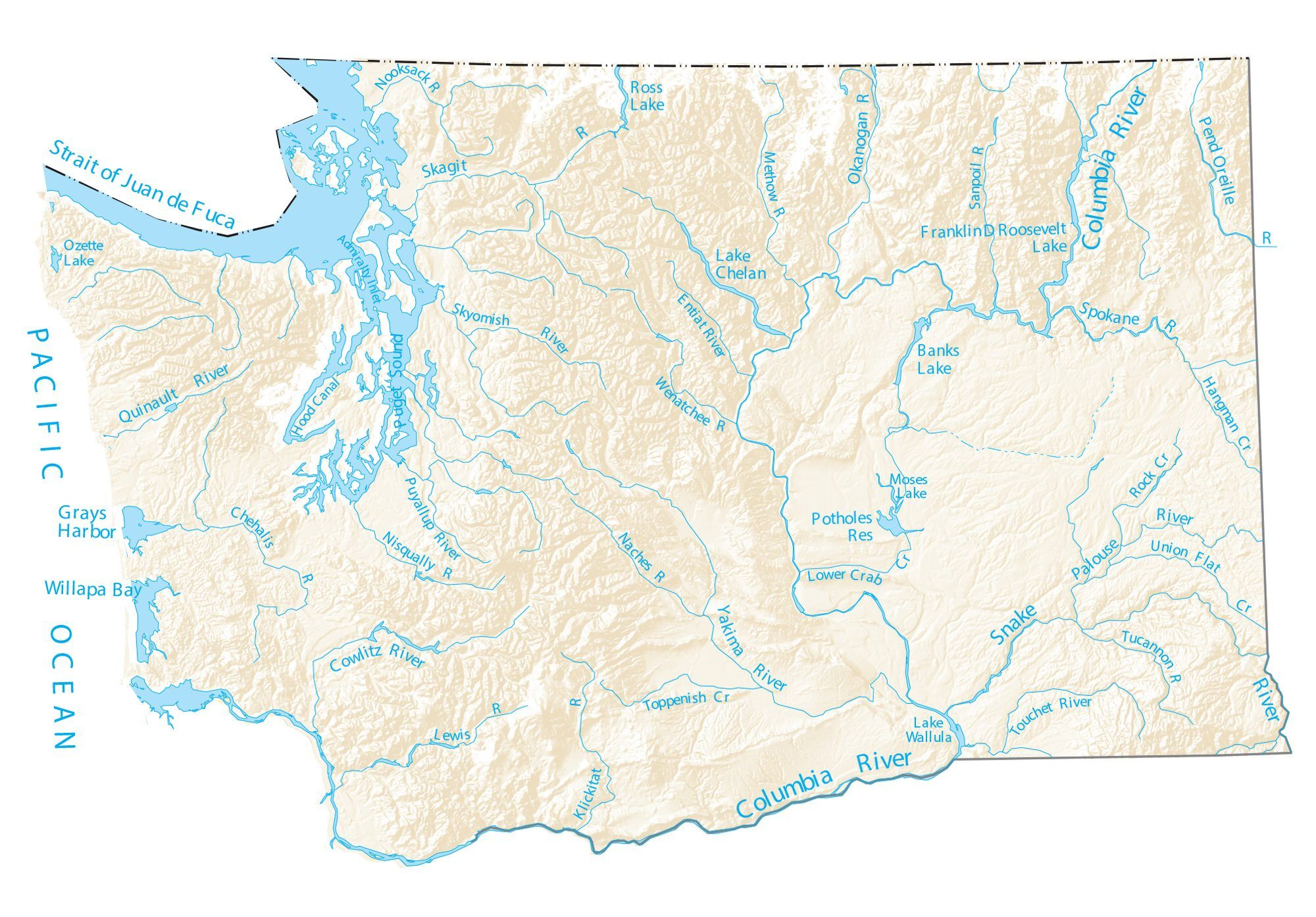 Picture of: Washington Lakes And Rivers Map Gis Geography