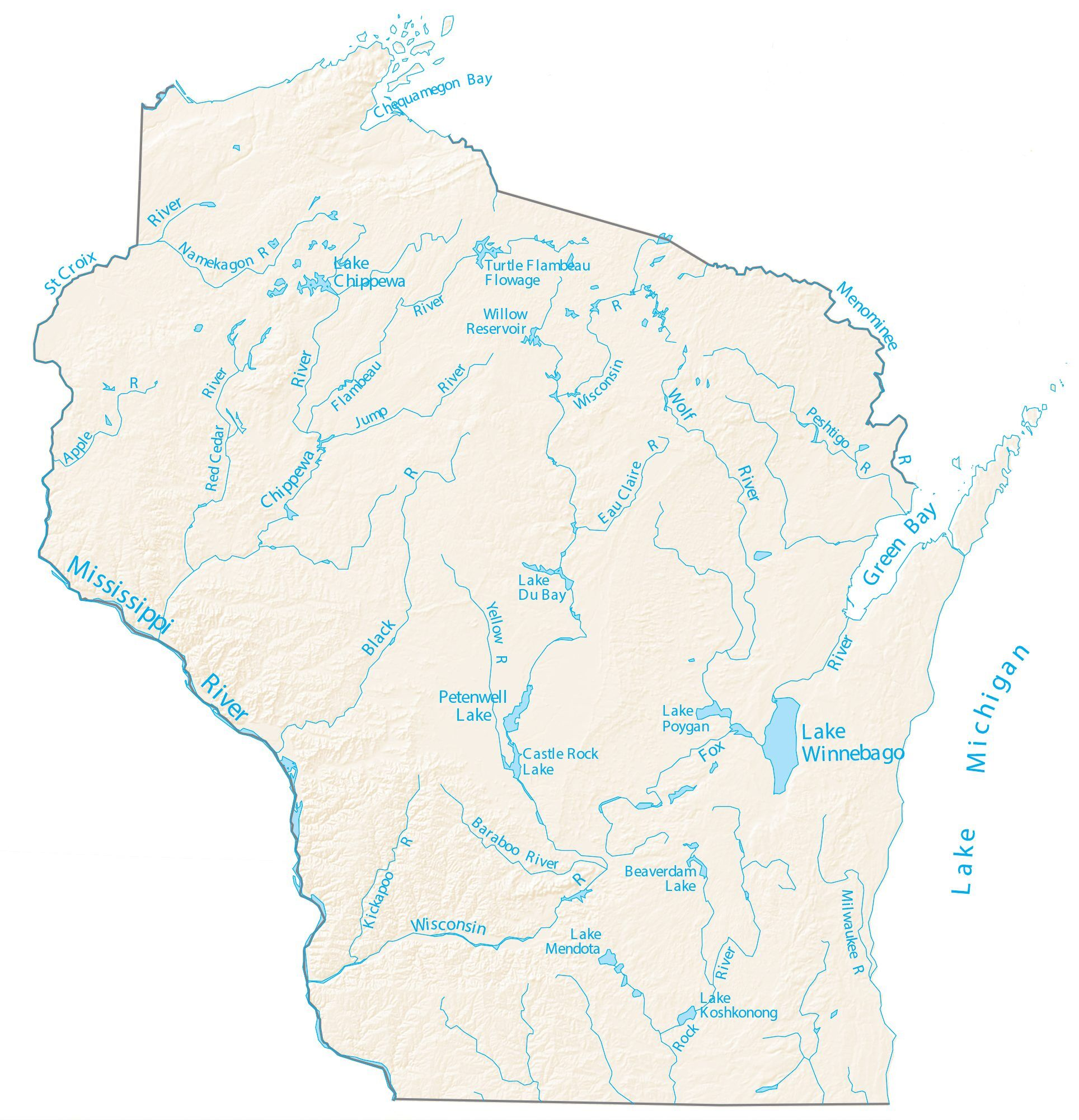 lakes in wisconsin map Wisconsin Lakes And Rivers Map Gis Geography lakes in wisconsin map