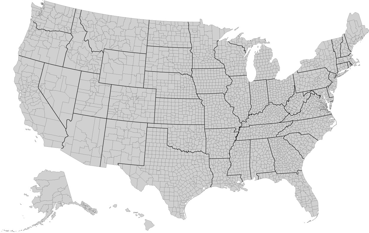 Us County Map Of The United States Gis Geography