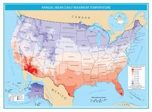United States Map Mean Annual Daily Maximum Temperature
