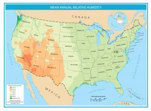 United States Map Mean-Annual Relative Humidity