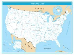United States Rivers and Lakes Map