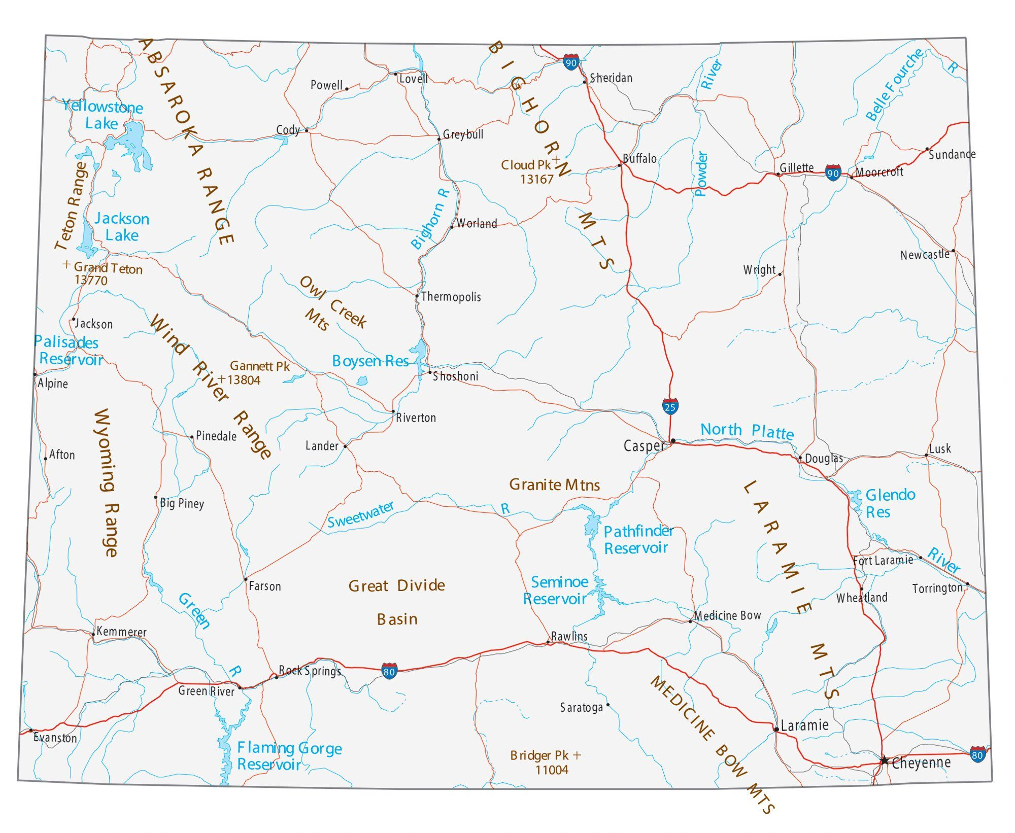 wyoming state map with cities Map Of Wyoming Cities And Roads Gis Geography wyoming state map with cities