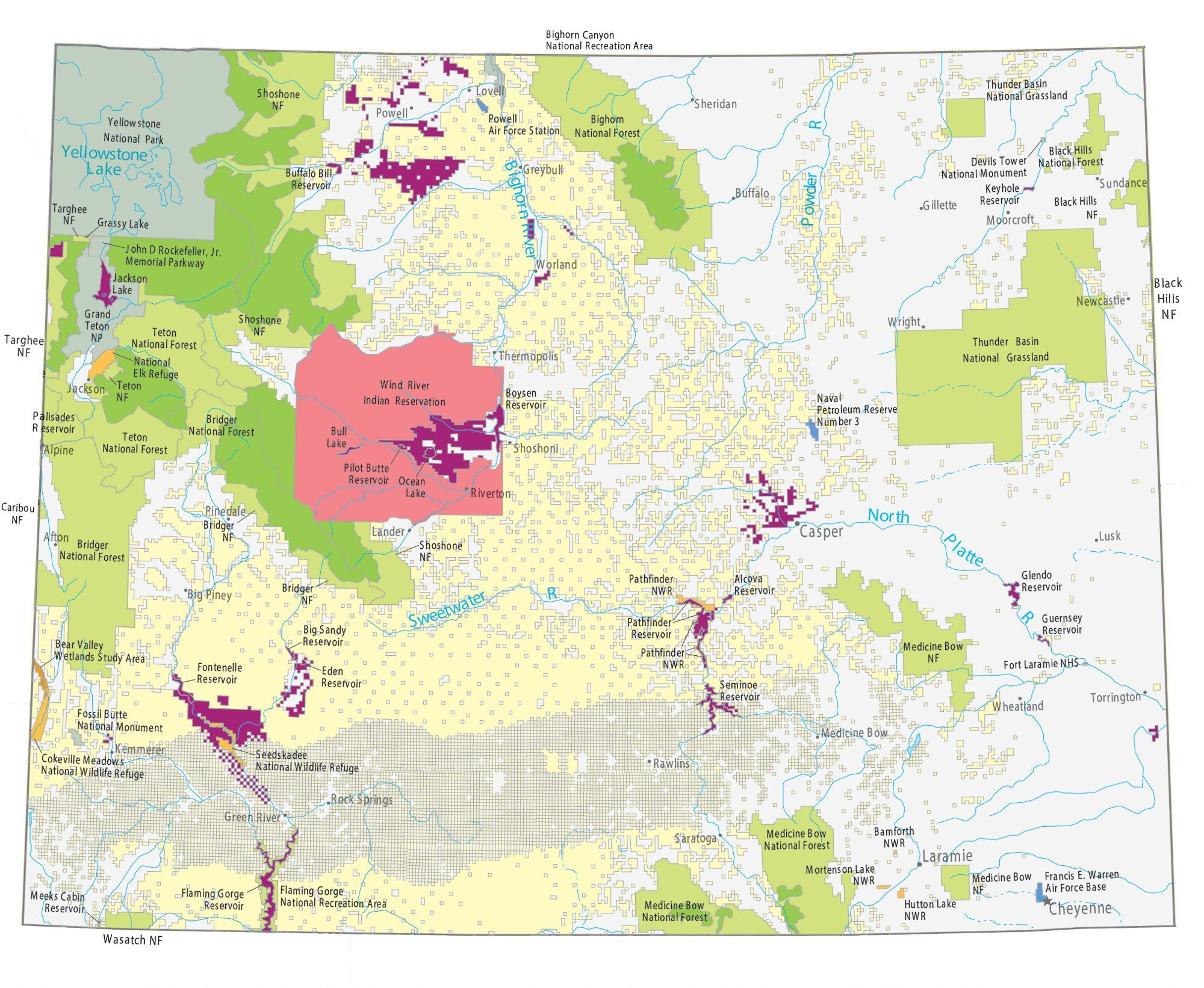 Picture of: Wyoming State Map Landmarks And Places Gis Geography