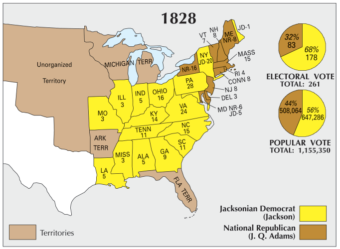 Map Of Us 1828 US Election of 1828 Map   GIS Geography