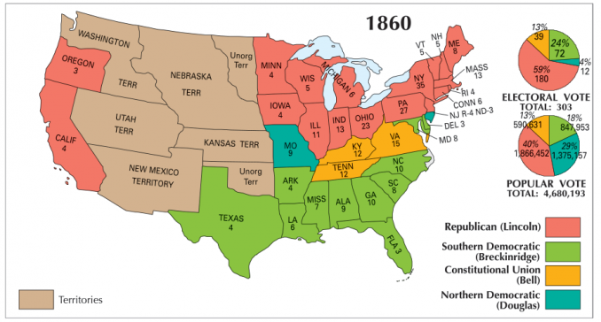 Map Of Us In 1860 US Election of 1860 Map   GIS Geography