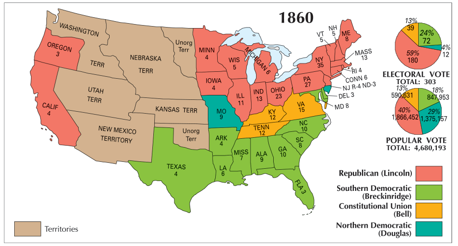 1860 united states map US Election of 1860 Map   GIS Geography