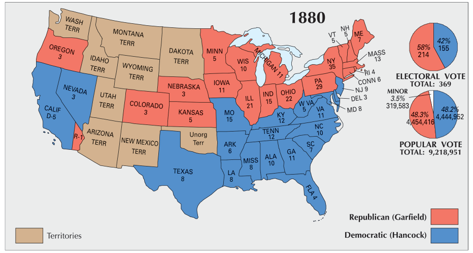 Us Map In 1880 US Election of 1880 Map   GIS Geography