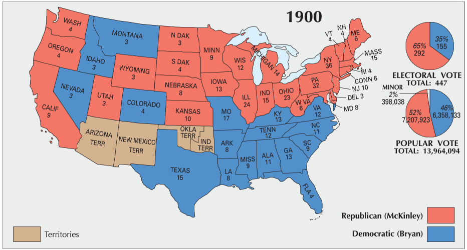 Map Of Us 1900 US Election of 1900 Map   GIS Geography