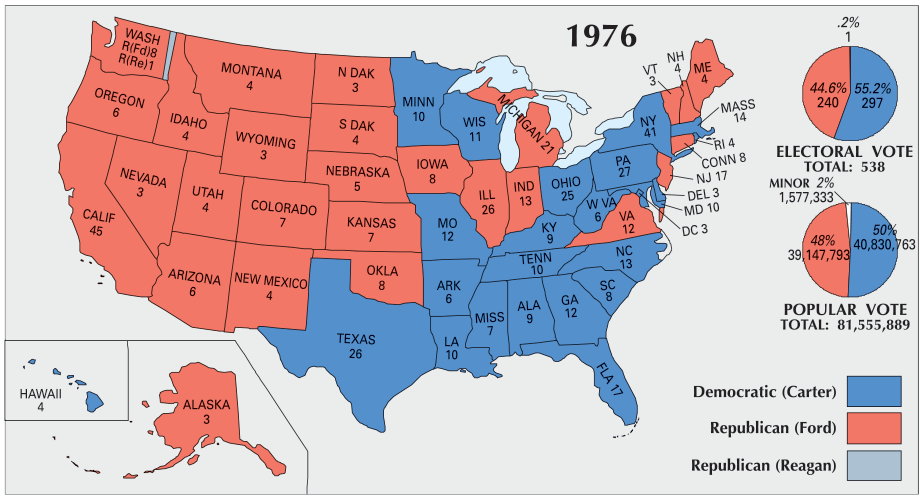 Us Election Of 1976 Map Gis Geography