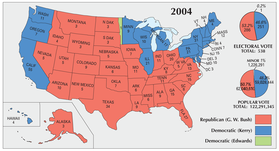 Us Election Of 2004 Map Gis Geography