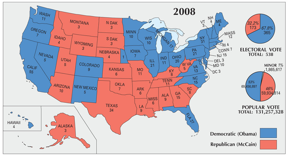Us Map Of 2008 Election Results US Election of 2008 Map   GIS Geography