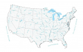 Lakes and Rivers Map of the United States