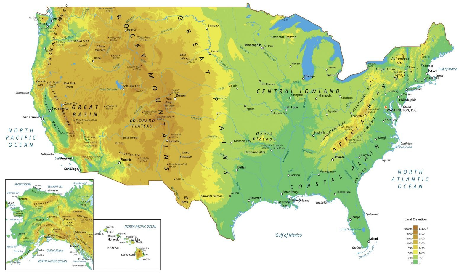 physical map of the united states Physical Map of the United States   GIS Geography