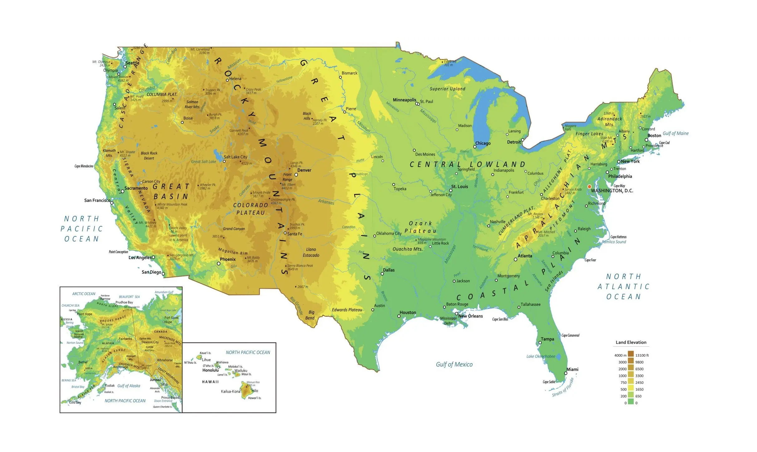 US Physical Map Feature