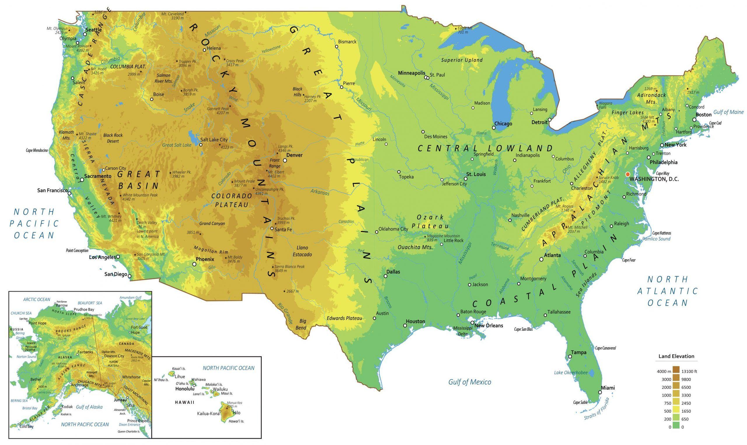 Image of: Physical Map Of The United States Gis Geography