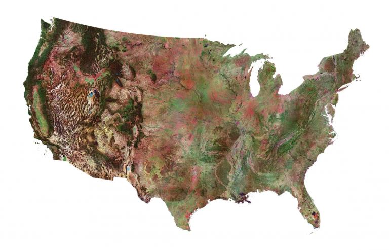 Satellite Map of USA – United States of America