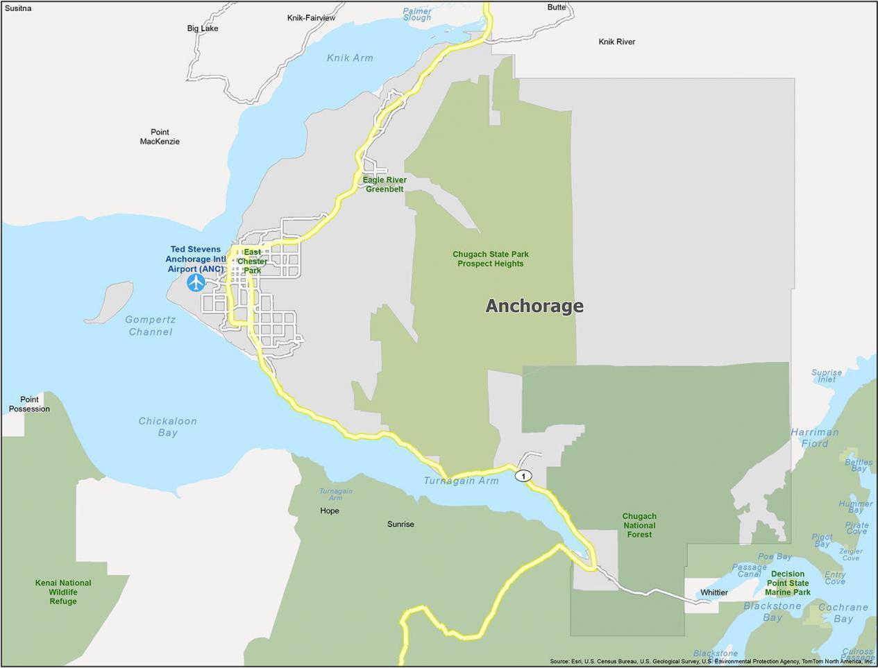 Anchorage Map Alaska