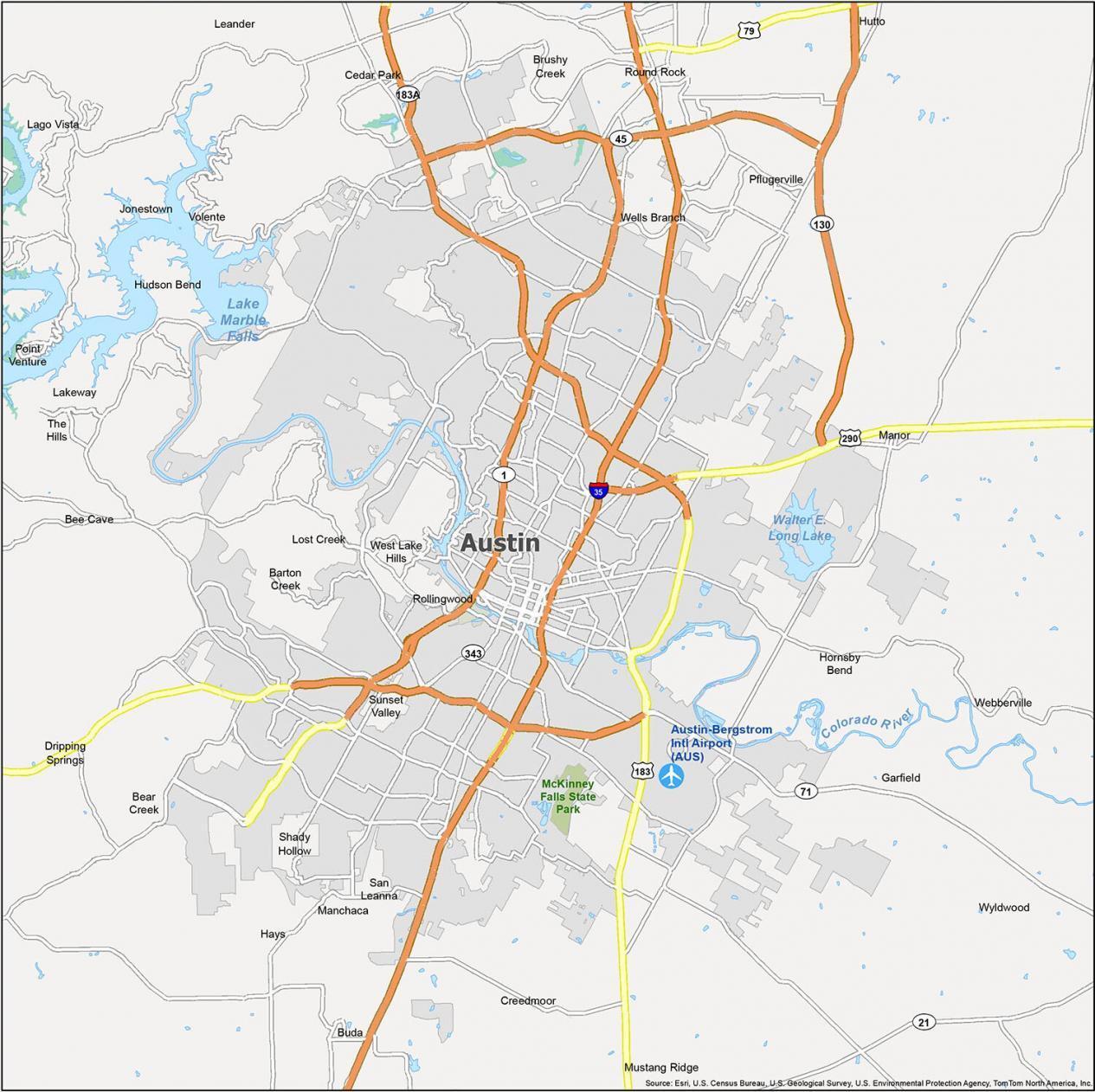 Austin Map Texas