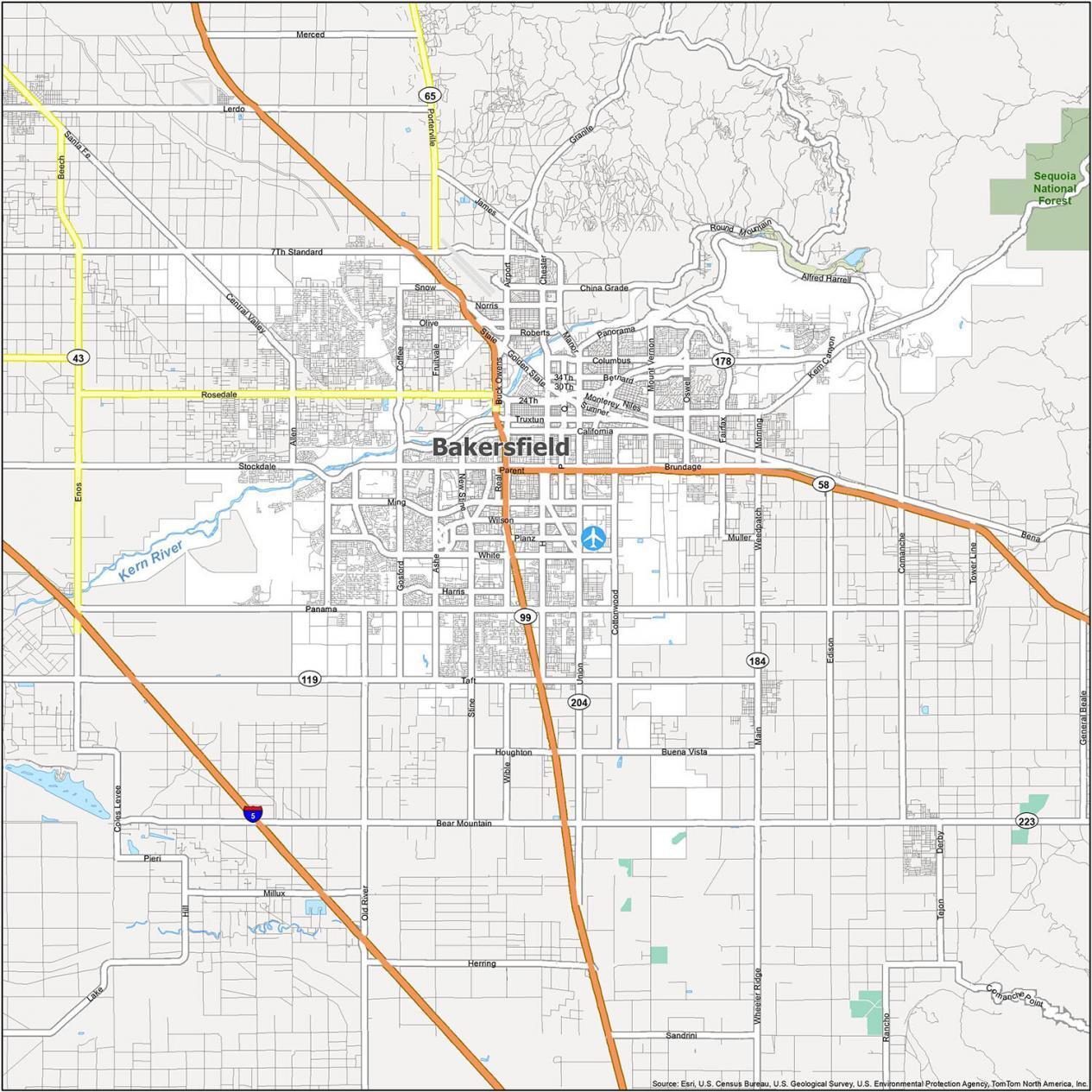 Bakersfield Road Map