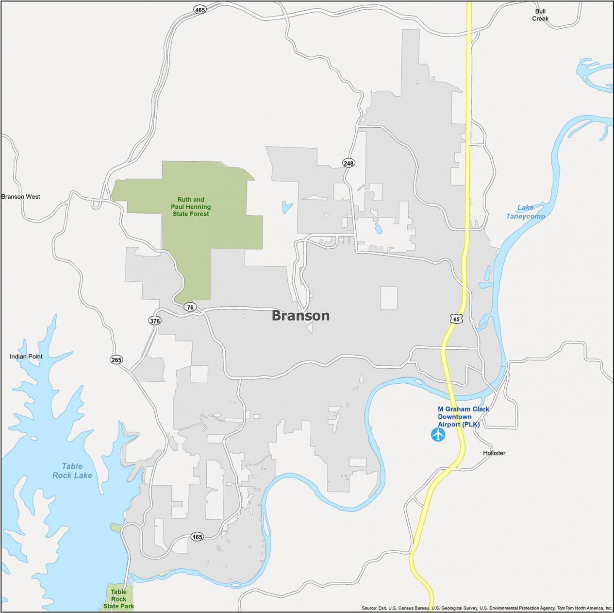 Branson Map Missouri