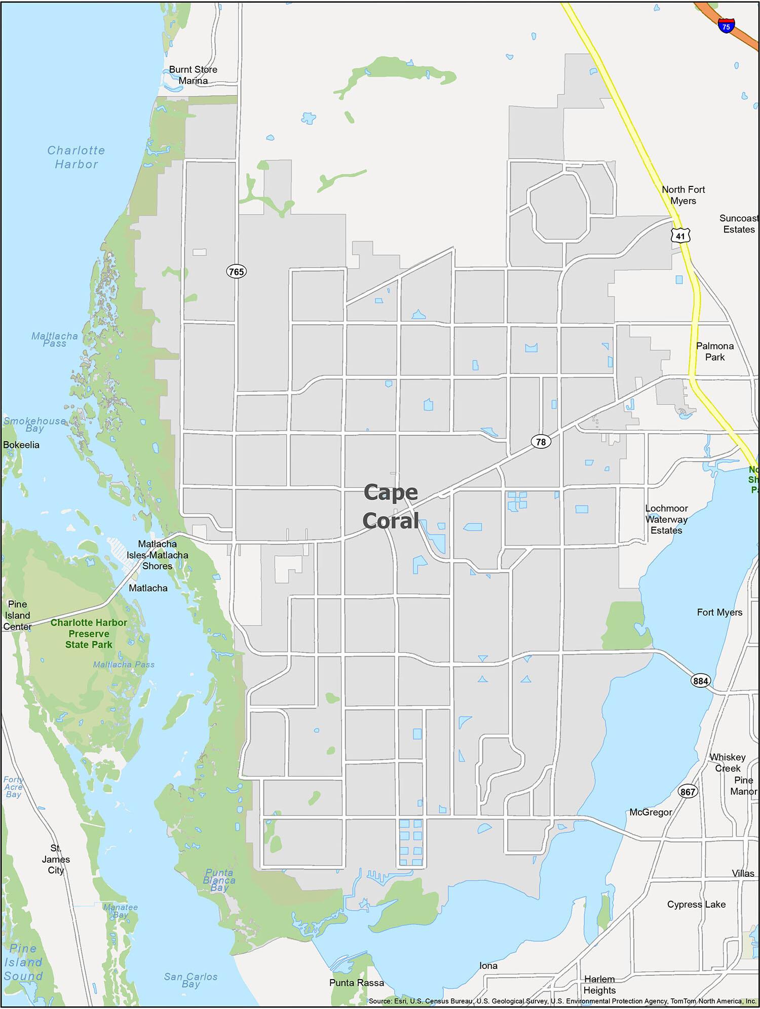 Cape Coral Map Florida