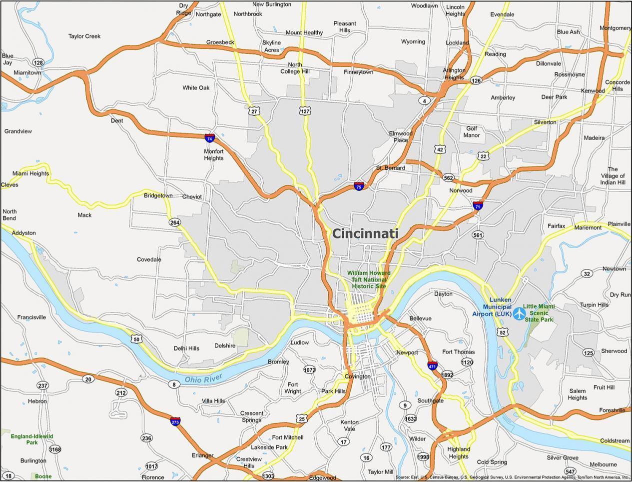Cincinnati Map Ohio