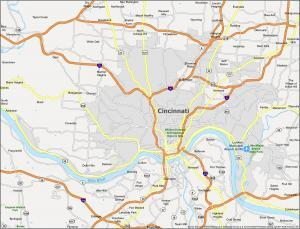 Cincinnati Map Ohio
