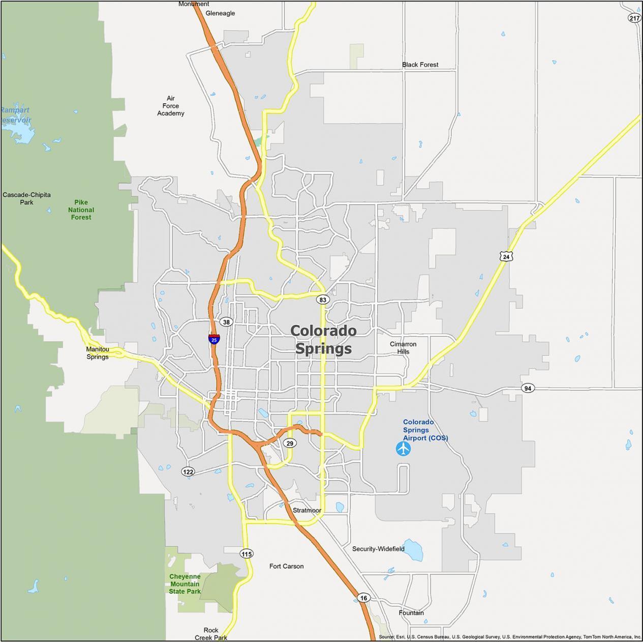 Colorado Springs Map Colorado