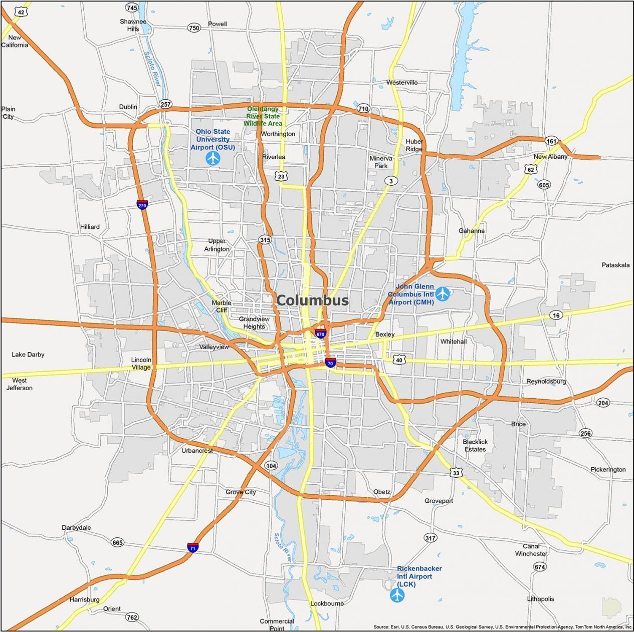 Columbus Map Ohio