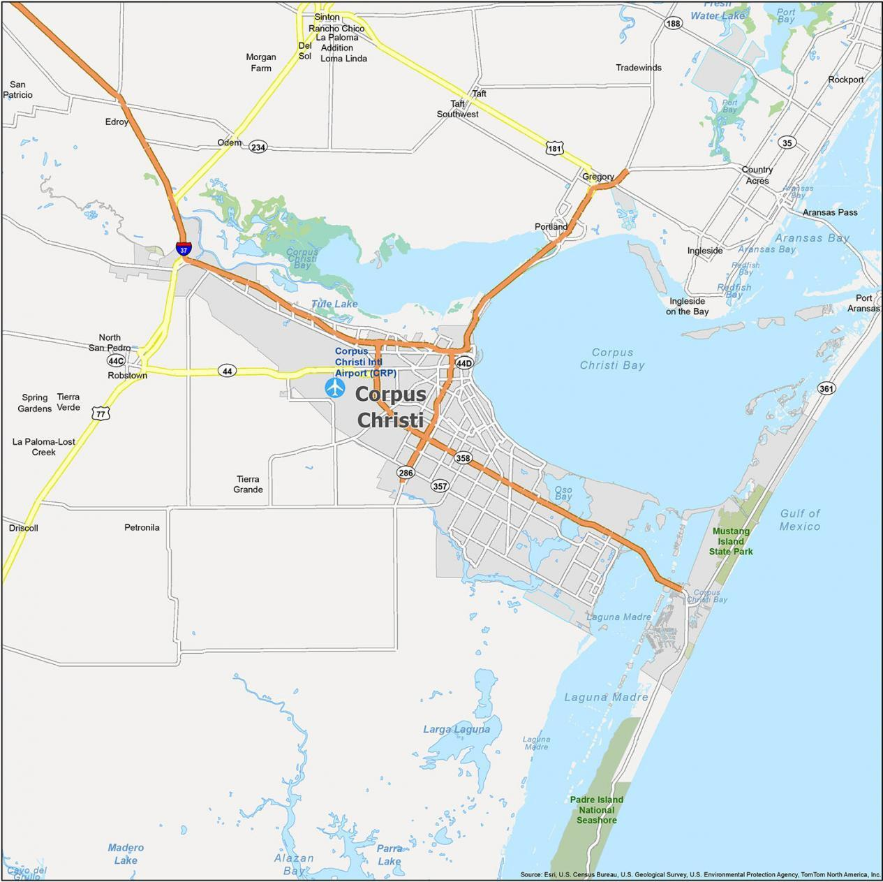 Corpus Christi Map Texas