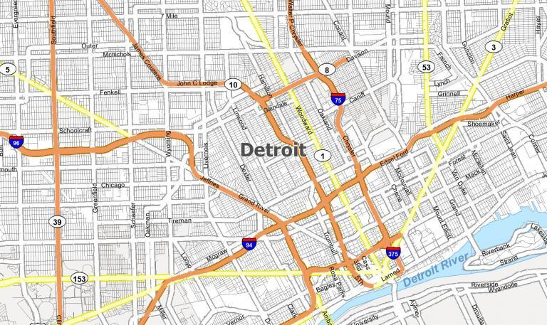 Map of Detroit, Michigan