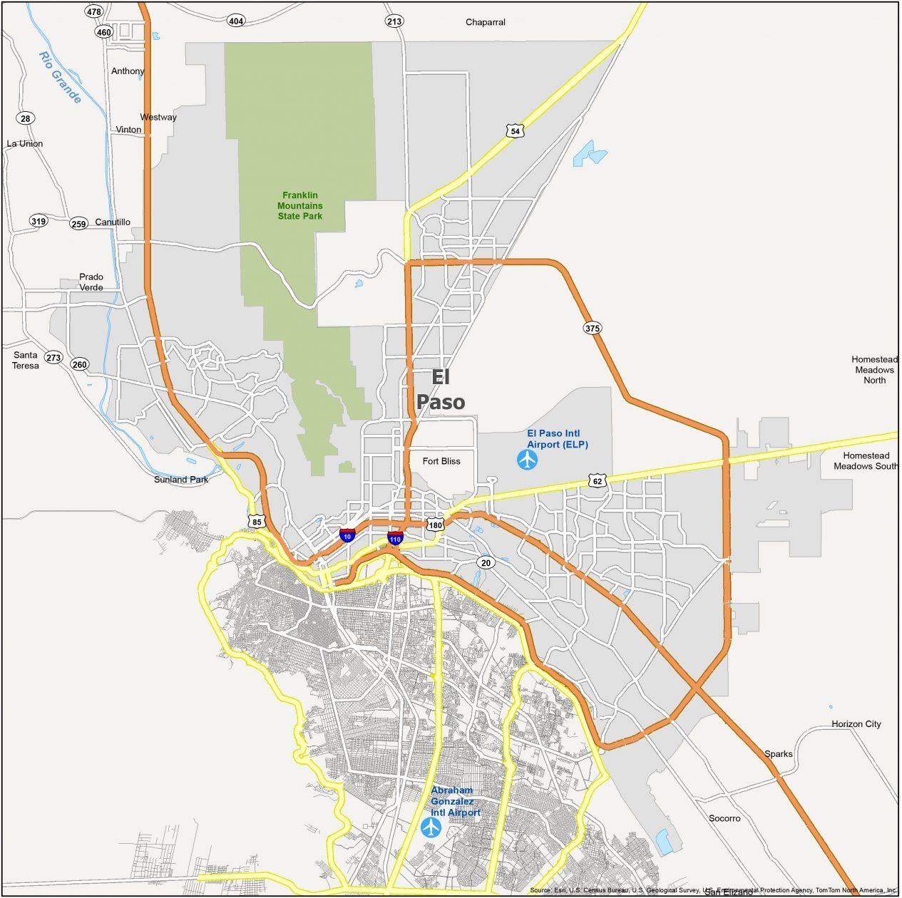 El Paso Map Texas