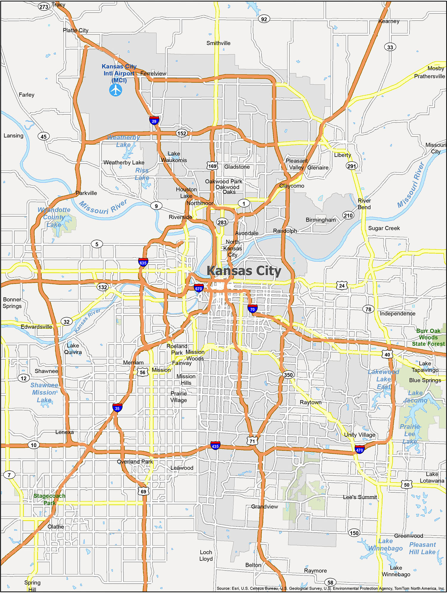 Kansas City Map Missouri