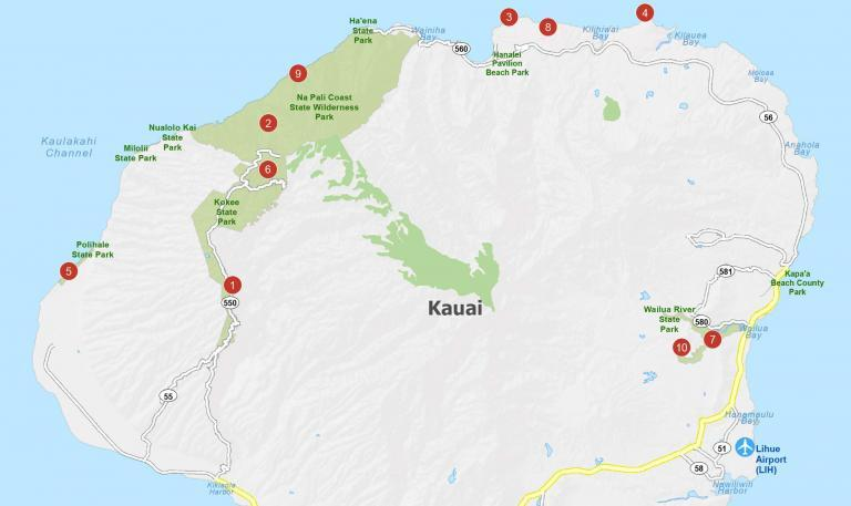 Kauai Island Map [Hawaii]