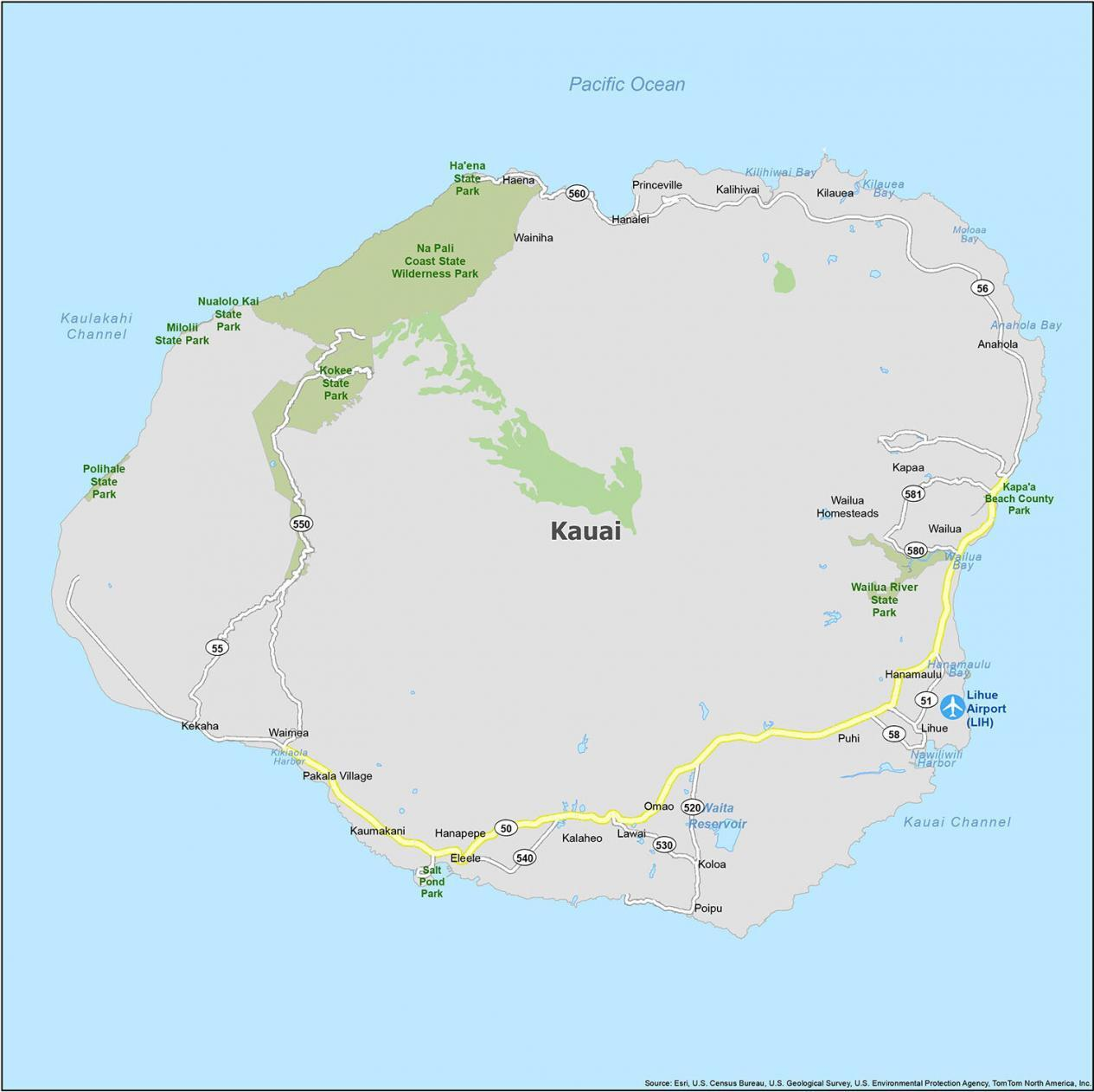 Kauai Map Hawaii