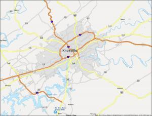 Knoxville Map Tennessee
