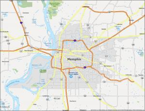 Memphis Map Tennessee