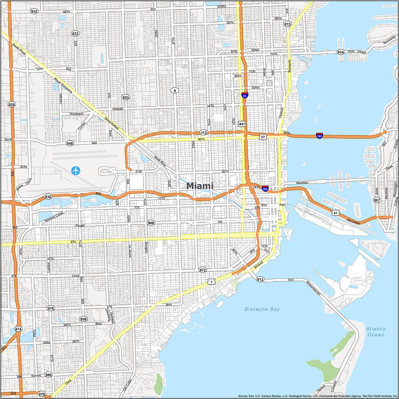 miami florida map - gis geography