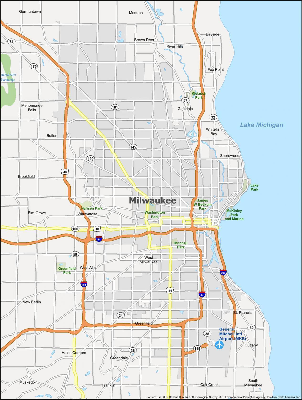 Milwaukee Map Wisconsin