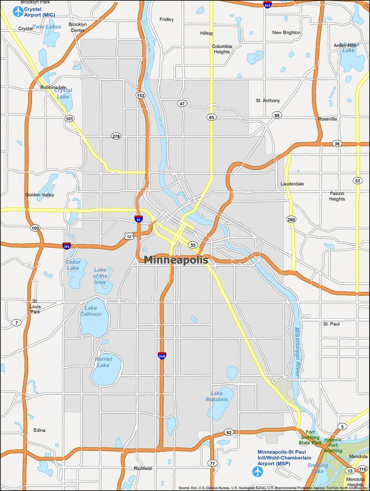 Minneapolis Map Minnesota