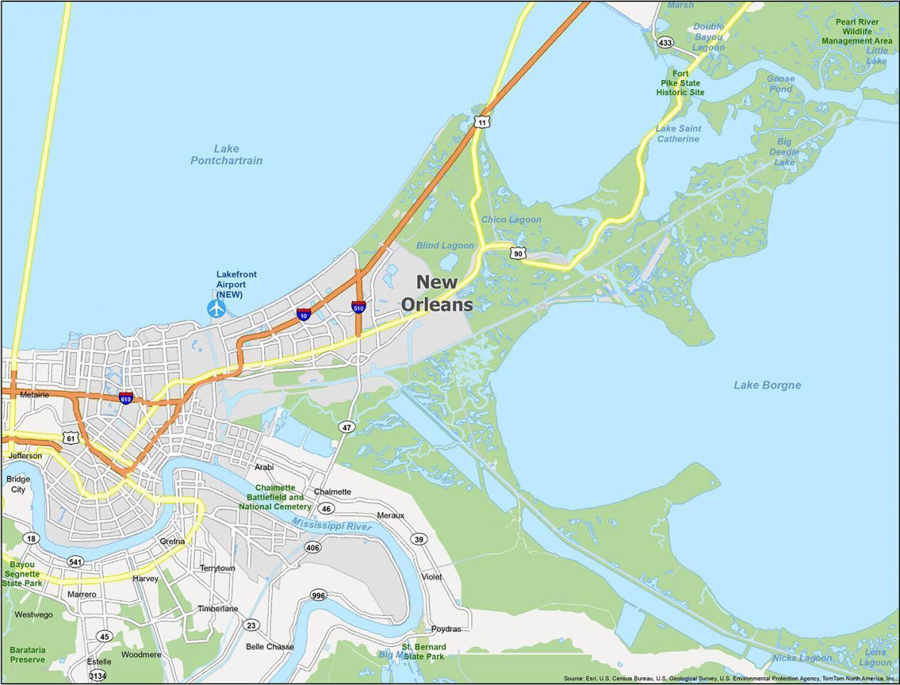 New Orleans Map Louisiana